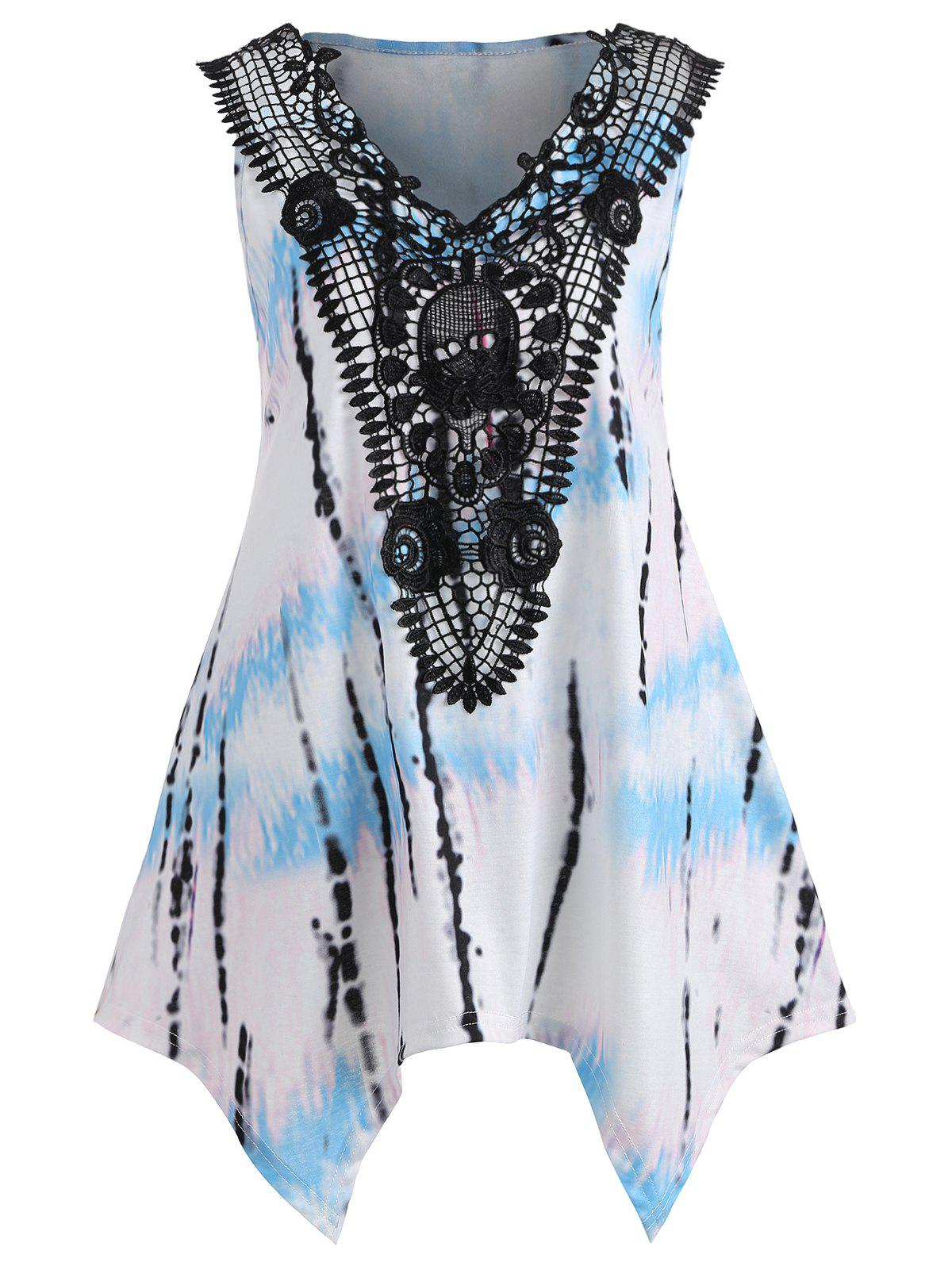 Sale Crochet Lace Panel Sleeveless Sharkbite T-shirt