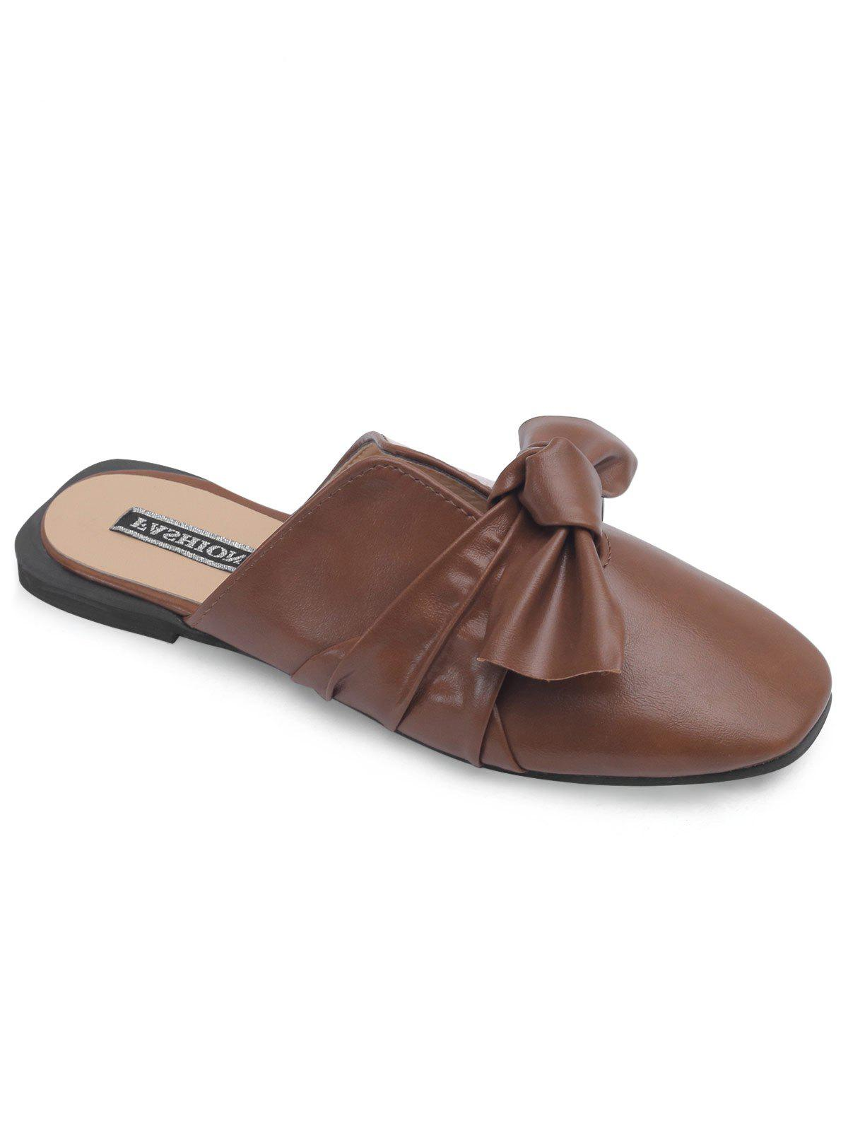 Store Bow Square Toe Flat Heel Mules Shoes