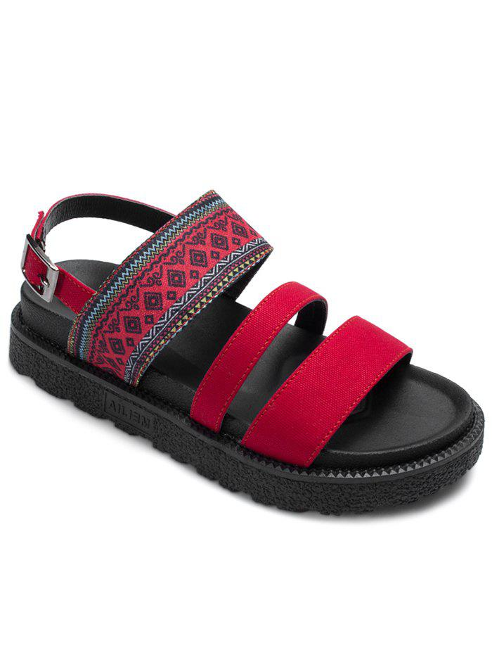 Sale Strappy Platform Ankle Wrap Ethnic Sandals