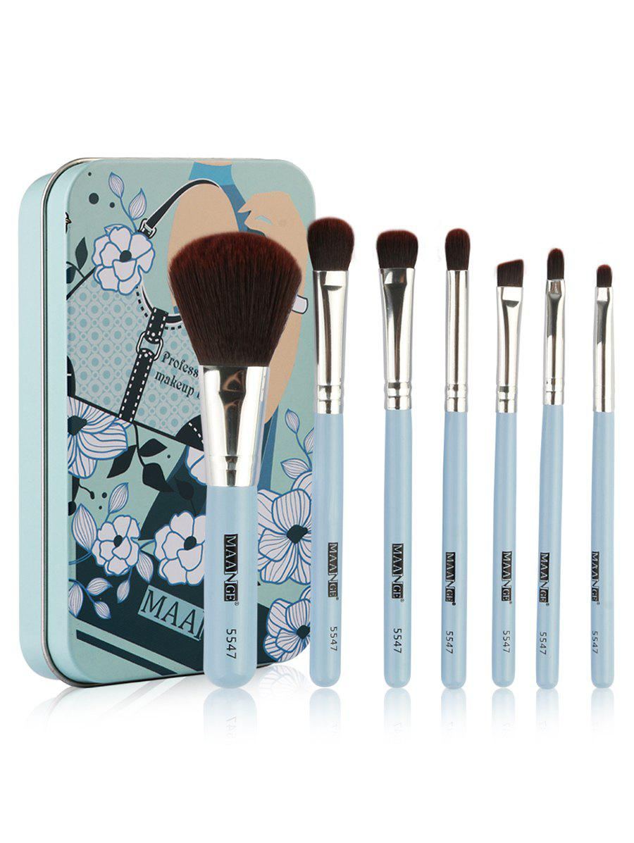 Buy Set of 7Pcs Extra Soft Fiber Hair Cosmetic Brush with Tin Box