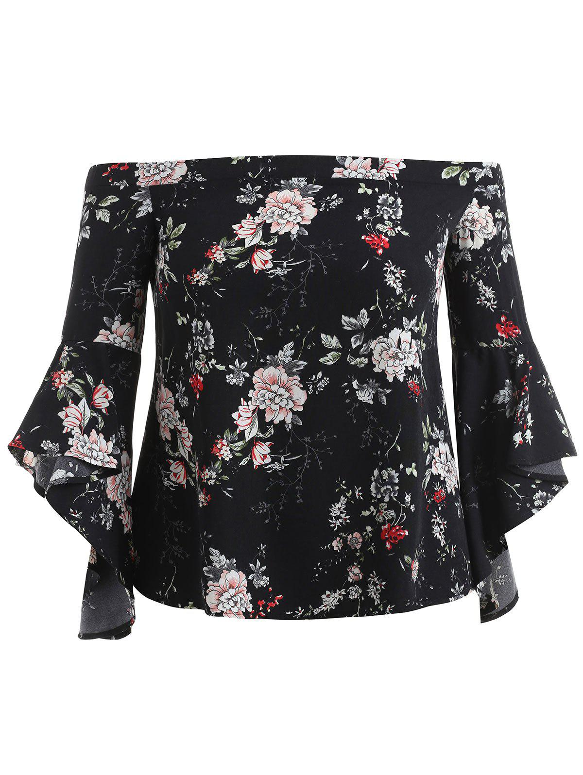 Unique Flower Print Plus Size Off Shoulder Blouse