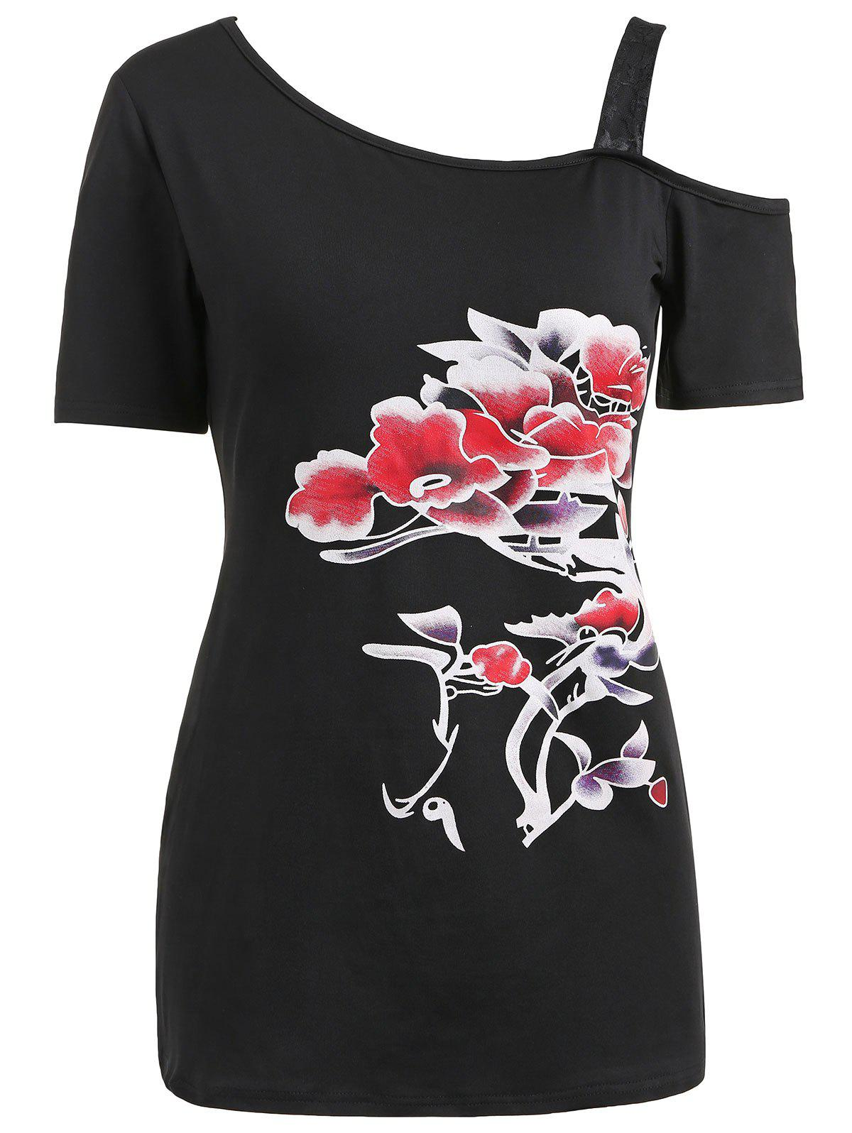 Chic Skew Neck Lace Strap Printed T-shirt