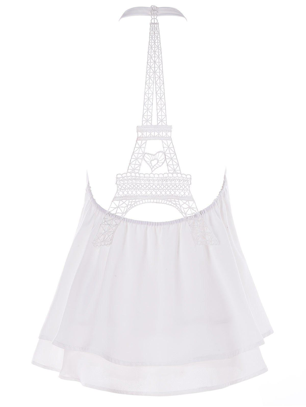 Store Halter Eiffel Tower Hollow Out Swing Tank Top