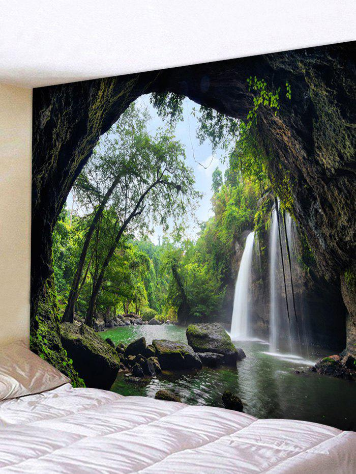 Latest Deep Forest Waterfall Scenery Printed Tapestry Wall Art