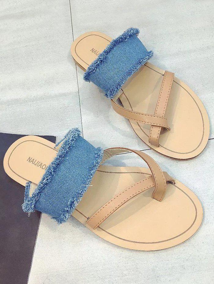 Shops Denim Strap Criss Cross Flat Heel Sandals