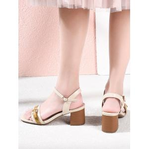 Lanbaoli Block Heel Color Blocking Sandals -