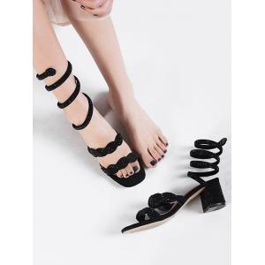 Faux Diamond Ankle Wrap Square Toe Sandals - BLACK Cheap Geniue Stockist ta0QxMb