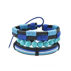 Artificial Leather Turquoise Rope Bolo Bracelet Set -