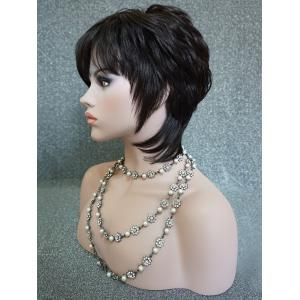 Short Side Fringe Layered Straight Human Hair Wig -