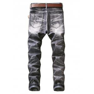 Slim Fit Smog Print Color Dyed Jeans -