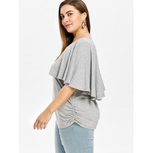 Flutter Sleeve Plus Size Side Ruched T-shirt -