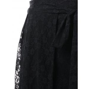 See Through Lace Overlay Palazzo Pants -