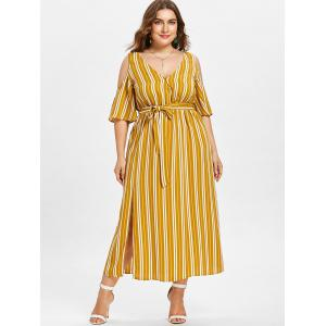 Plus Size Striped Cold Shoulder Dress -
