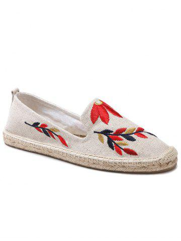 Affordable Floral Embroidery Round Toe Straw Loafers