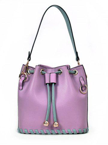Hot Color Block Whipstitch Bucket Handbag