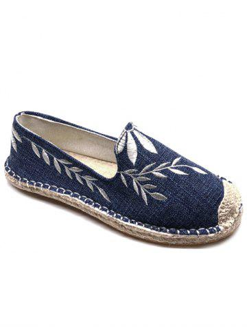 Latest Floral Embroidery Round Toe Straw Loafers