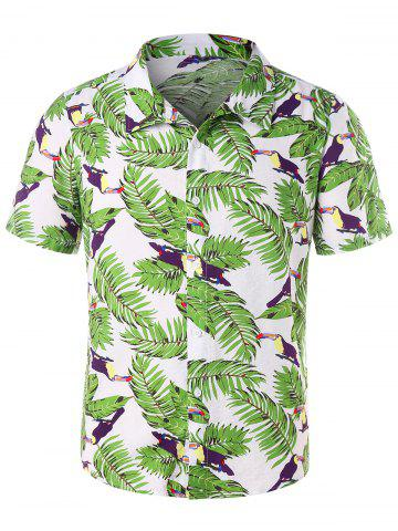 Short Sleeve Button Up Leaves Print Shirt