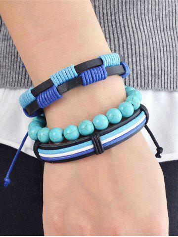 New Artificial Leather Turquoise Rope Bolo Bracelet Set