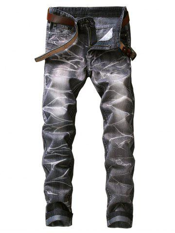 Affordable Slim Fit Smog Print Color Dyed Jeans