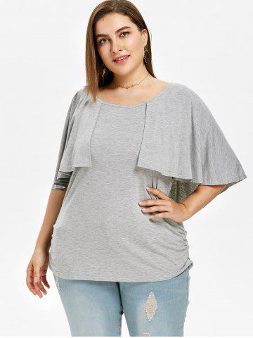 Flutter Sleeve Plus Size Side Ruched T-shirt