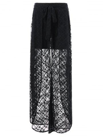 Unique See Through Lace Overlay Palazzo Pants