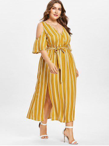 Chic Plus Size Striped Cold Shoulder Dress