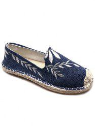 Floral Embroidery Round Toe Straw Loafers -