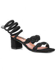 Faux Diamond Ankle Wrap Square Toe Sandals -