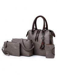 4 Pieces PU Leather Vacation Handbag Set -