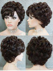 Short Side Bang Layered Curly Human Hair Wig -