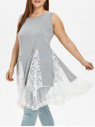 Lace Panel Plus Size Asymmetrical Dress -