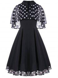 Vintage Polka Dot Party Skater Dress With Cape -