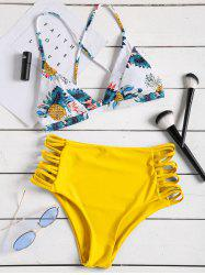 Pineapple Print Strappy High Rise Bikini Set -