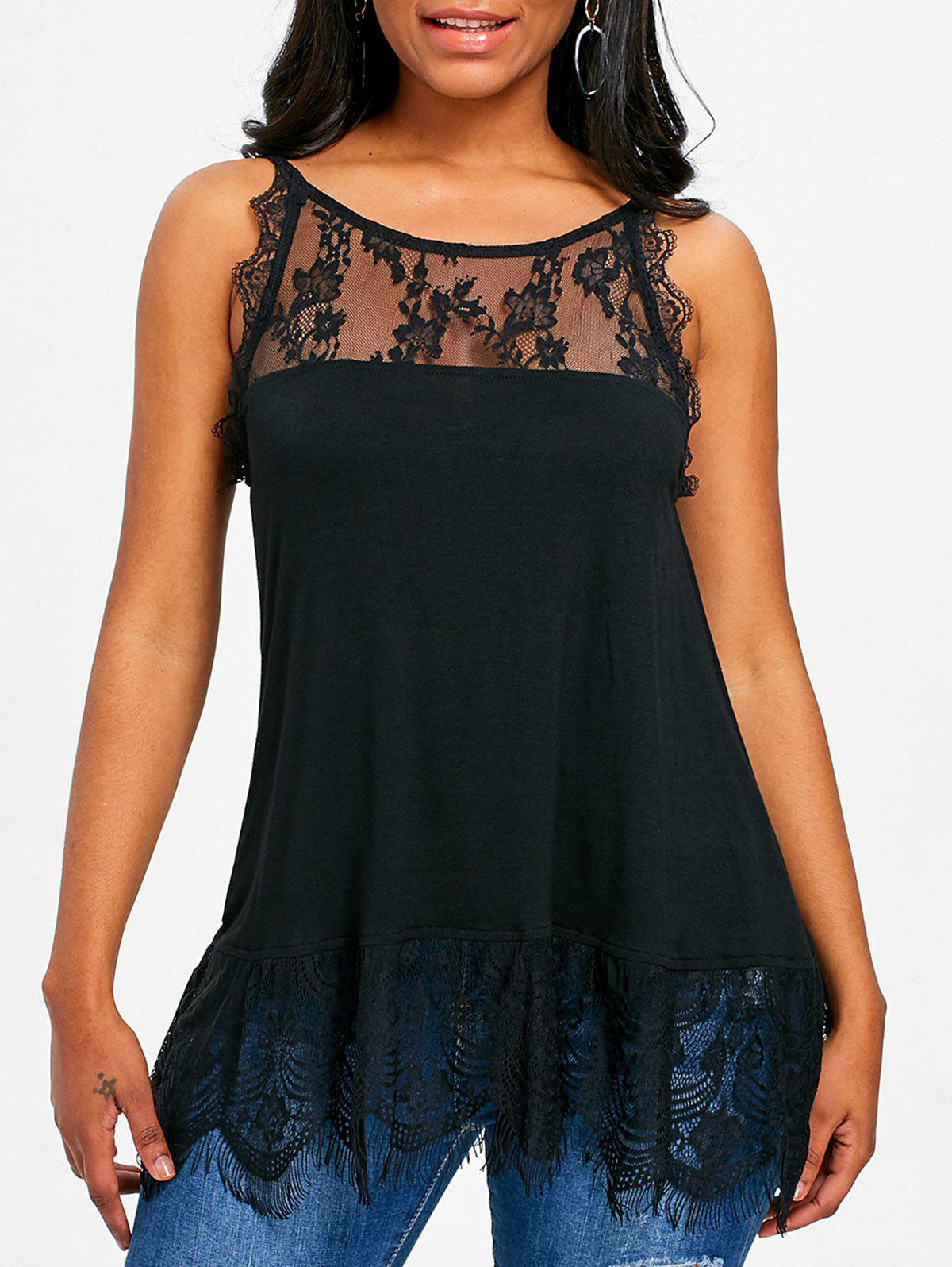 Hot Lace Trim Fitted Tank Top