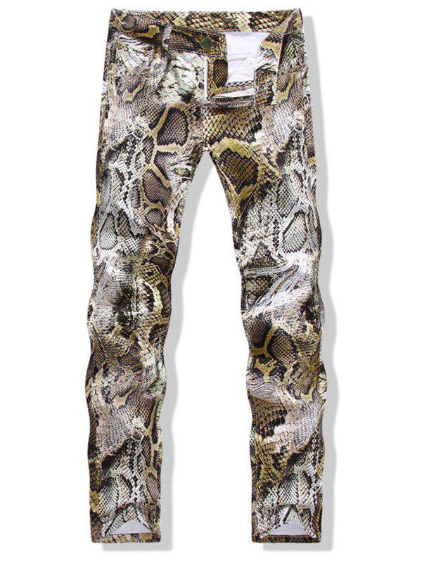 Affordable Straight Leg Snakeskin Print Jeans