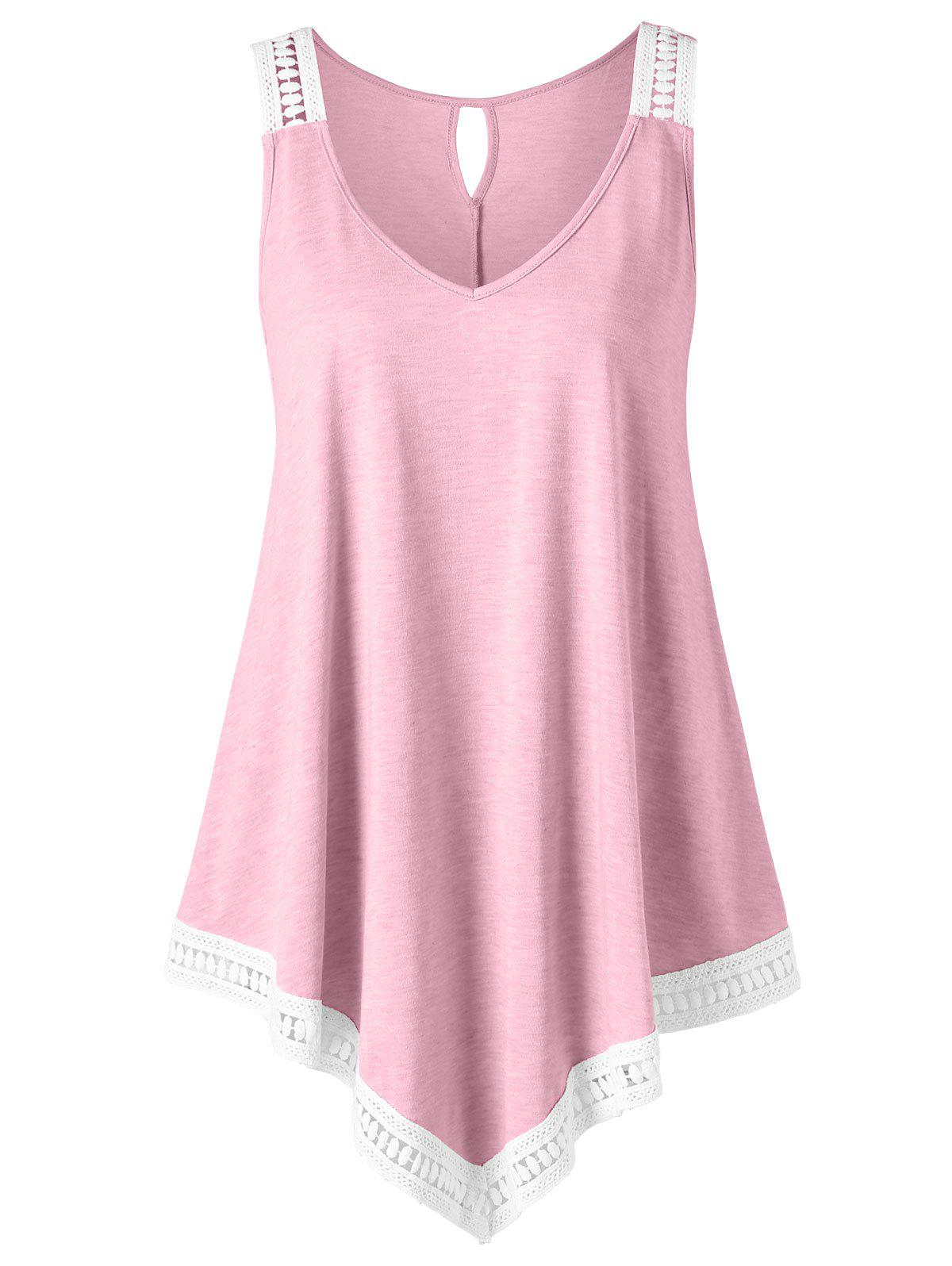 63b13248e1242 52% OFF   2018 Plus Size V Neck Trapeze Tank Top In Light Pink 3xl ...
