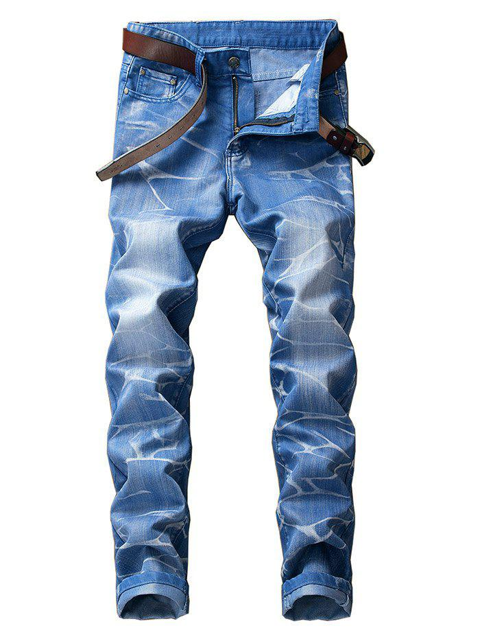 Fancy Slim Fit Smog Print Color Dyed Jeans