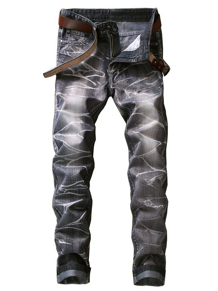 Discount Slim Fit Smog Print Color Dyed Jeans