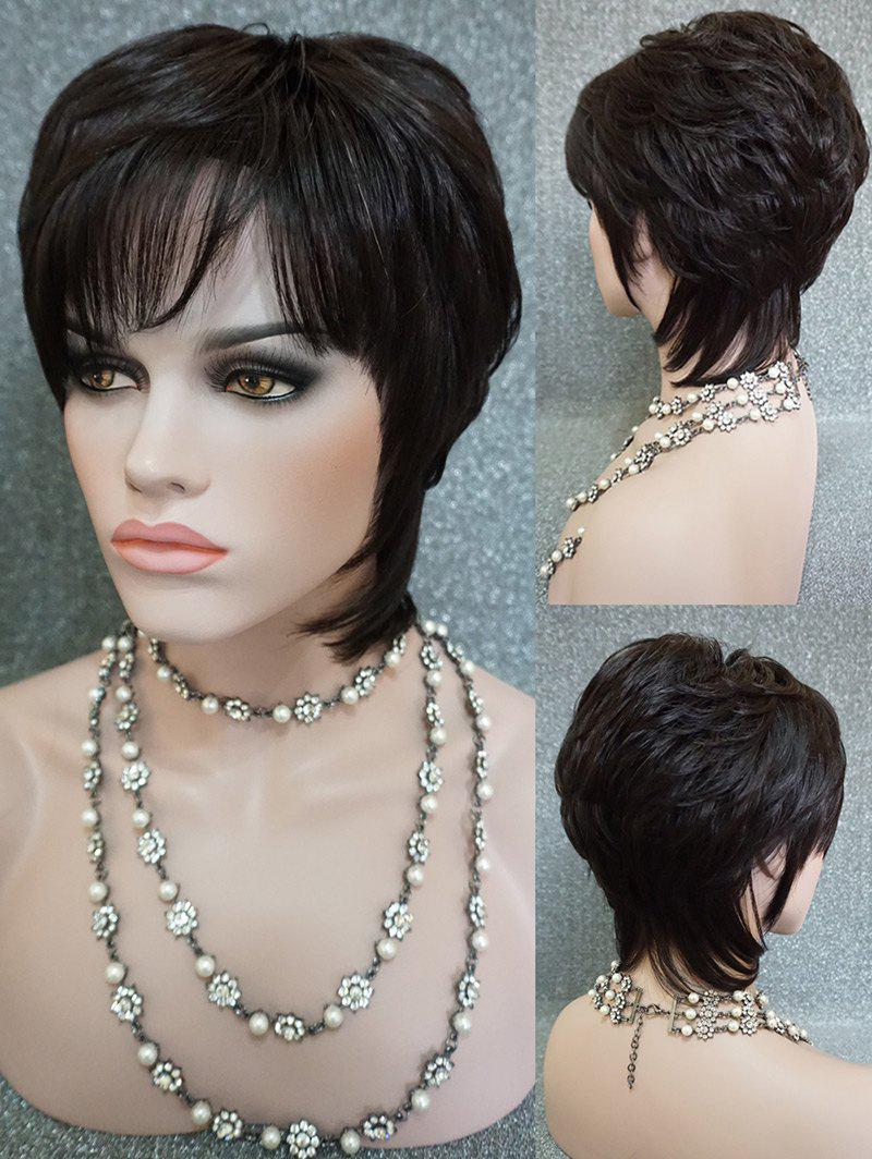 Best Short Side Fringe Layered Straight Human Hair Wig