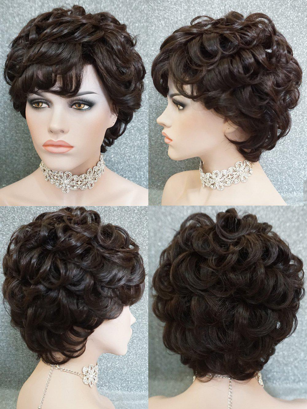 Online Short Side Bang Layered Curly Human Hair Wig