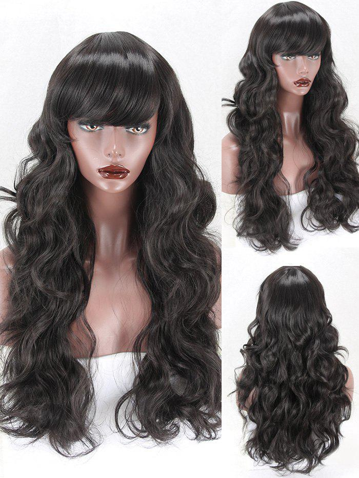 Discount Long Side Bang Body Wave Synthetic Wig