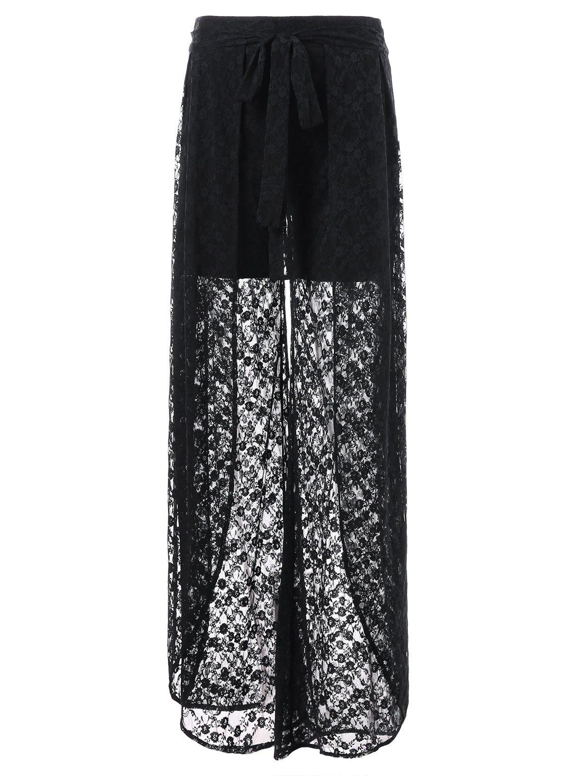 Outfit See Through Lace Overlay Palazzo Pants