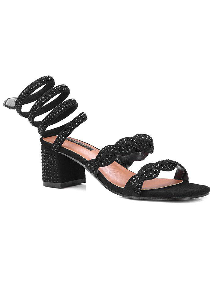Fashion Faux Diamond Ankle Wrap Square Toe Sandals