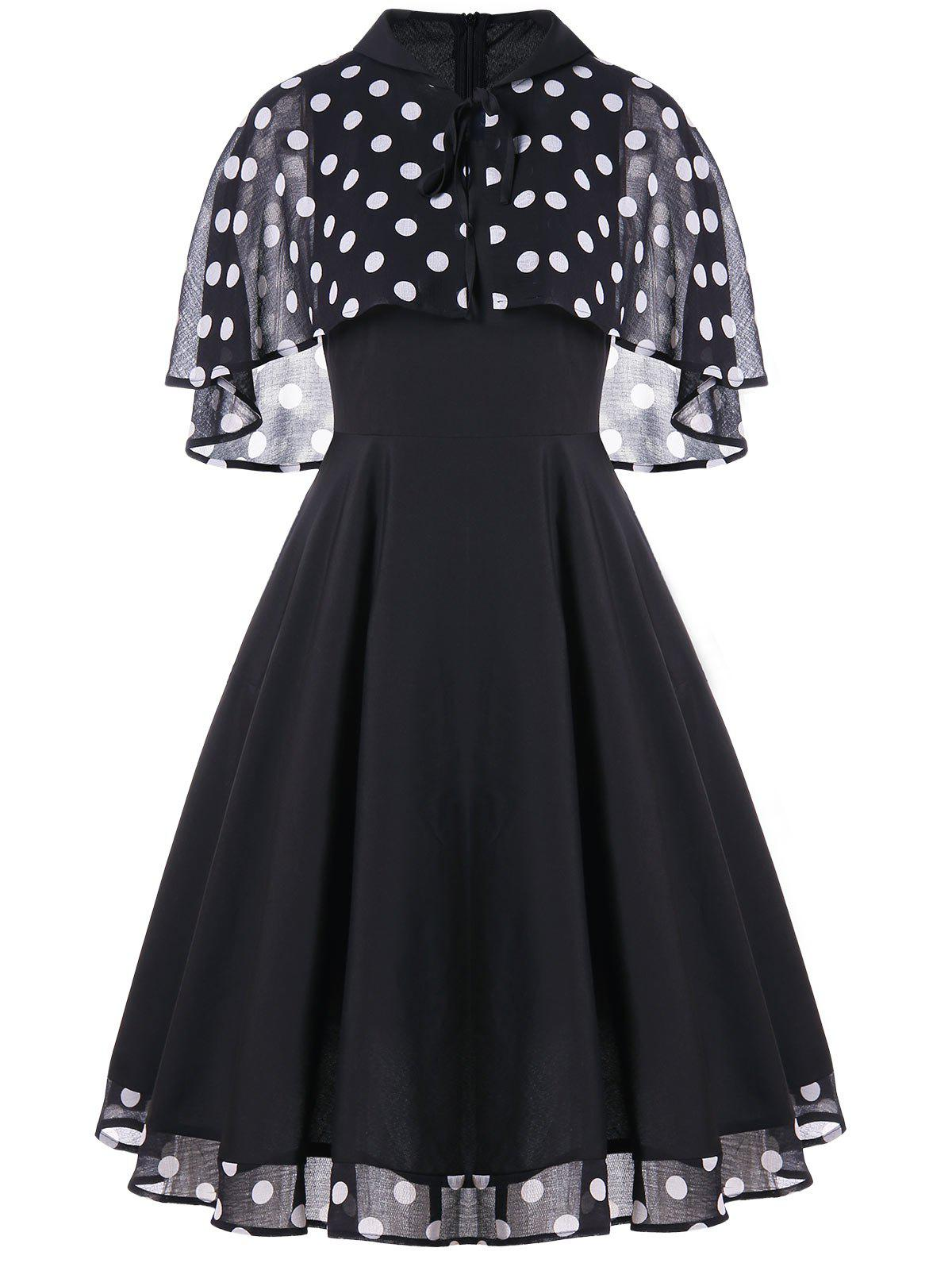 Affordable Vintage Polka Dot Party Skater Dress With Cape