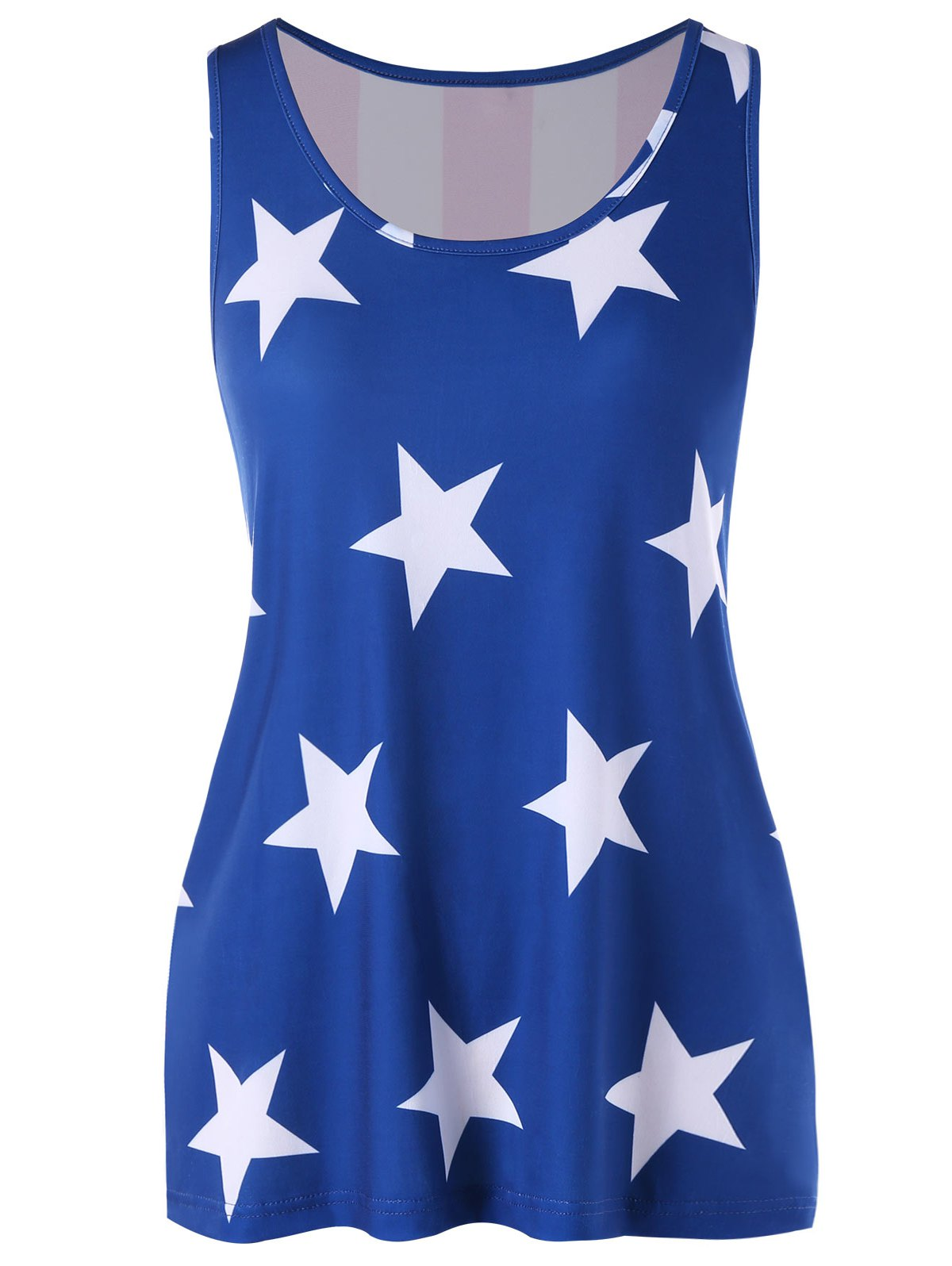 Chic Stars Front and Striped Back Tank Top
