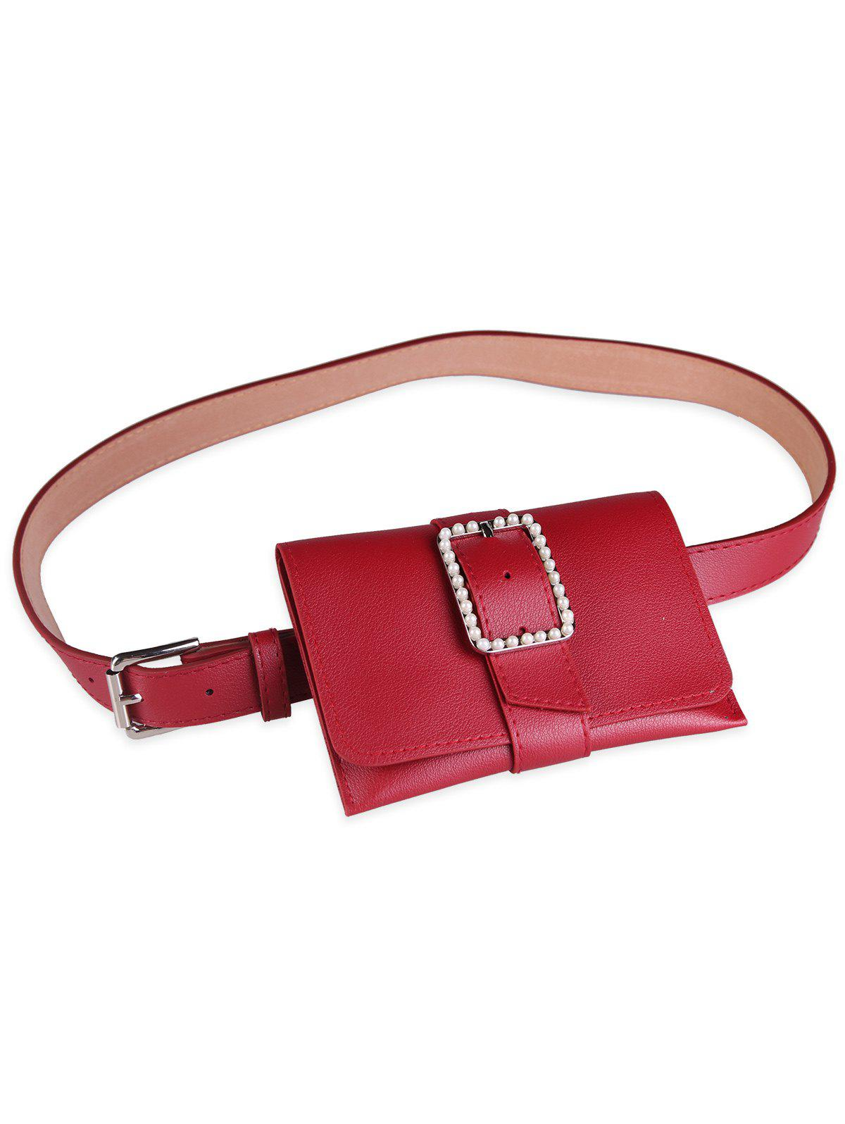 Hot Funny Faux Pearl Bag PU Leather Waist Belt