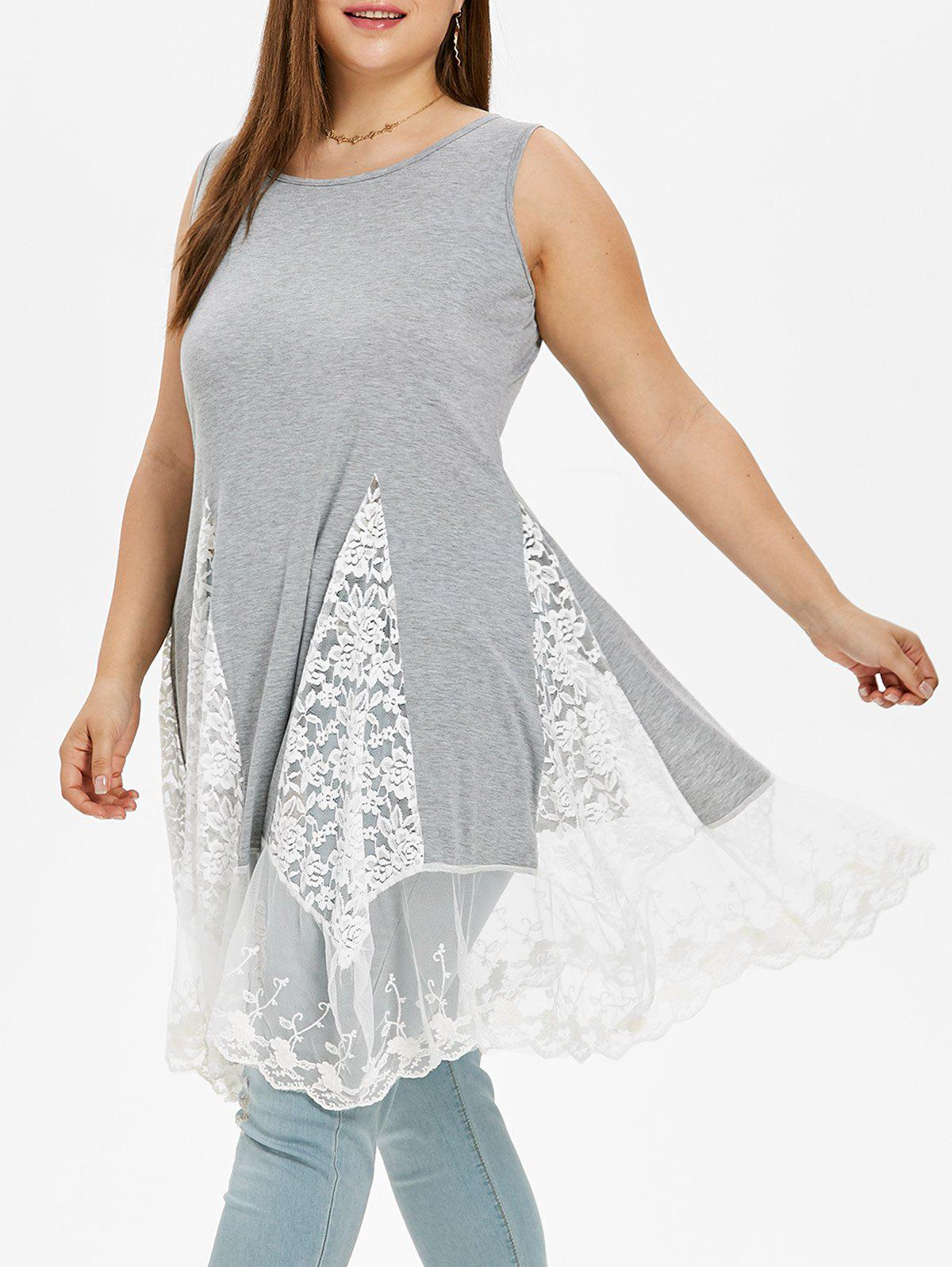 Shops Lace Panel Plus Size Asymmetrical Dress
