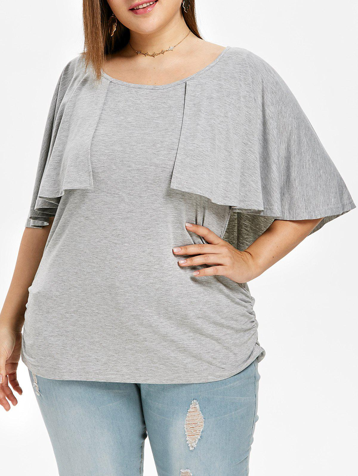Shop Flutter Sleeve Plus Size Side Ruched T-shirt