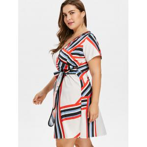 Plus Size Striped Surplice Dress -