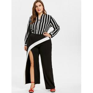 Plus Size Asymmetric Split Wrap Pants -